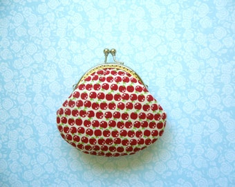 SHOP CLOSING SALE  Little Red Apple small clutch coin purse - Handmade Gift - Gifts Under 20