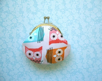 SHOP CLOSING SALE   Fun Owls Coin Purse - Clutch Purse - Handmade Gift - Birthday Gift - Holiday Gift - Gifts Under 20