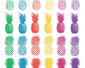 Pineapple Silhouettes Clip Art Set, Digital Clipart, scrapbooking, red, blue, green, purple, orange, yellow