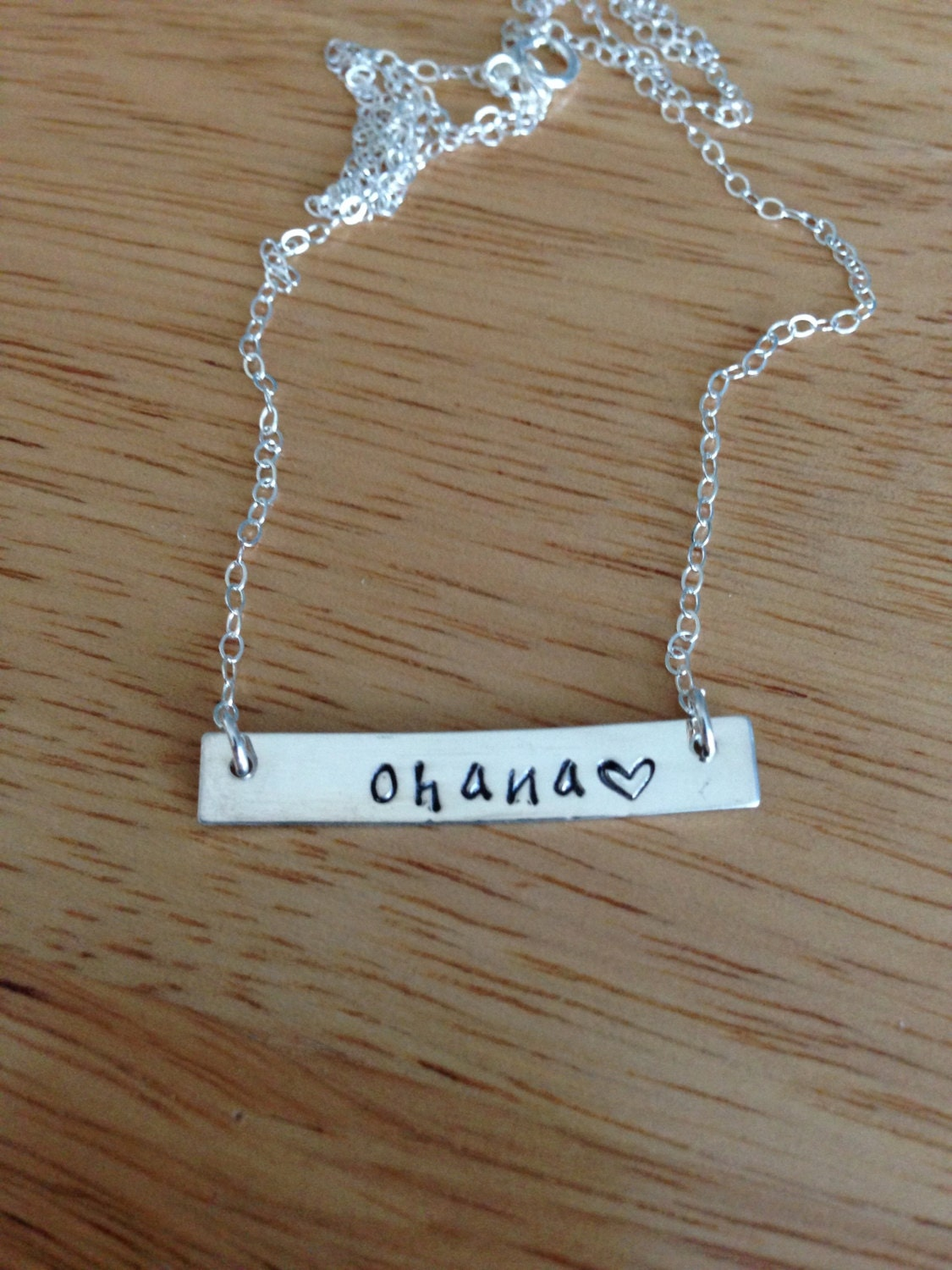 Ohana Hand Stamped Sterling Silver Bar Necklace