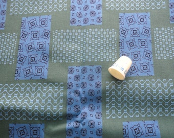 blue and green geometric print vintage cotton fabric -- 36 wide by 3 yards