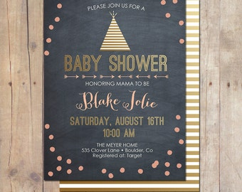 Tribal Chalkboard Gold Confetti Pow Wow Birthday Party baby Shower Invitation Invite 5x7 Printable Teepee