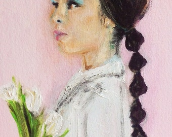 Yoki .. original oil painting 4x6 portrait