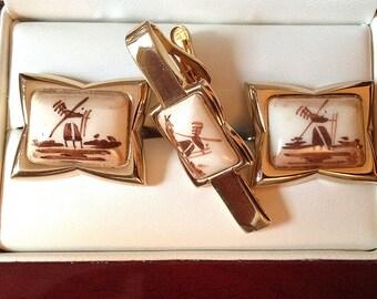 Incredible Vintage Swank Arts of the World Delft Ceramic Cufflink Set