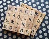 RESERVED listing for 4 sets of Scrabble Coasters