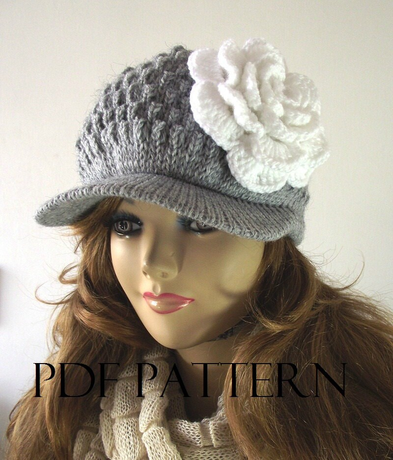 Crochet Pattern Newsboy Hat Brim Manet For