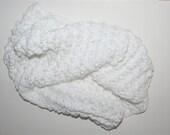 "Cotton Baby Blanket Approx 20x22"" White Textured Crochet Reversible Crib Stroller Baptism Afghan Newborn Nursery Baby Shower Handmade"