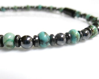 Magnetic Turquoise Bracelet, African Turquoise Bracelet, Magnetic Bracelet, Magnetic Hematite Bracelet, Magnetic Therapy Bracelet