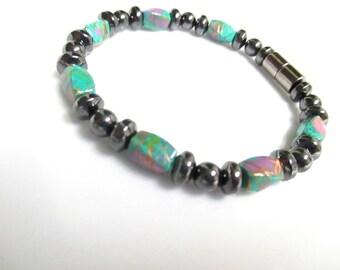 Magnetic Hematite Turquoise Picasso Swirl Bracelet