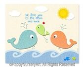 Whales family art print, children room art, nursery wall decor, girls or boys, art for nursery, Ocean animals