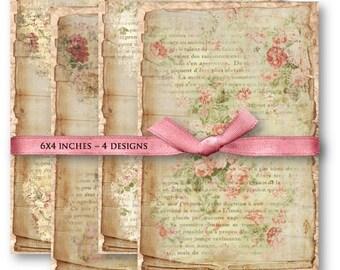 Digital Collage Sheet Download - Shabby Floral French Ephemera -  842  - Digital Paper - Instant Download Printables