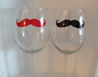 Mustache Glasses, Four Mustache Wine Glasses - Wine Glass - Ready to Ship - Home & Living - Barware - Housewares