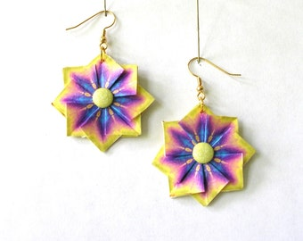 Purple Yellow Boho Origami Earrings -Paper Earrings - Paper Anniversary Gift - Origami Jewelry - Lightweight Earrings - Boho Jewelry