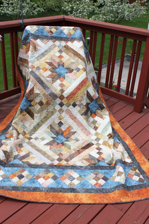 Quilt Patterns For Stonehenge Fabric : Queen Handmade Quilt Smokey River Stonehenge