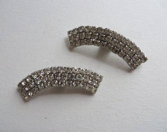 Vintage White Rhinestone Arched Shoe Clips