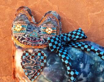Heart Softie  Kitty Azulie Boy, hand stitched
