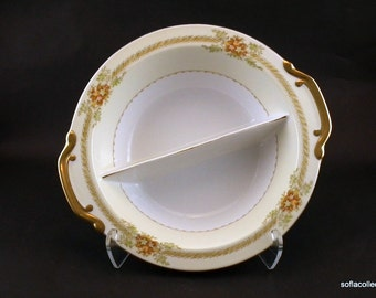 Royal Embassy China Irving Pattern Divided Serving Bowl / Vegetable Bowl - Vintage 1930s 1940s Tableware