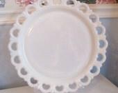 Shabby Chic Heart PLATTER Cake Plate Filigree Milk Glass  LARGE