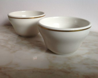Vintage Mayer Bowls Set of 2 Iron Stone Creamy White with Gold Trim Mayer China USA
