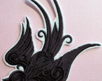 Embroidered Baroque Swallow Applique Patch, Iron On, Sew On, Sparrow Patch, Bird Applique, Swooping Sparrow in Flight