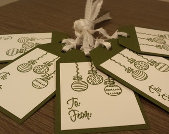 Christmas gift tags - hand stamped ornament - set of 5