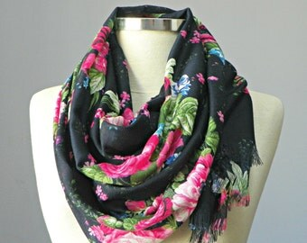 Scarf, spring flowers pashmina scarf, dark blue on pink flower, fall autumn fashion