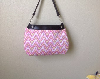 Bright pink, white and lime green chevron print handmade Thirty One SUITE skirt purse cover