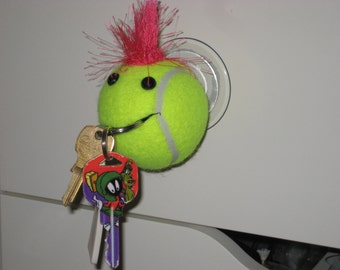Key Holder Tennis Ball with Spiked pink hair, Great gift for any Tennis player, stuff holder