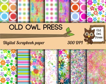 Spring Scrapbook paper,flowers and pastels, 14 colors, 12 by 12 DPI, instant download, Commercial use
