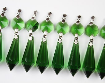 50 Green Glass Chandelier Crystals Icicle Prisms Hanging Drops Lamp Parts