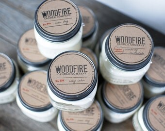 PICK 3 Wood Wick Mason Jar Soy Candle - Perfect Gift - 8oz - Holiday - Rustic Gift Fall Candle
