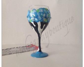 Zebra & Blue Flowers Wine glass