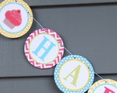 CUPCAKE PARTY Birthday or Baby Shower Party Banner Bright Colors - Party Packs Available