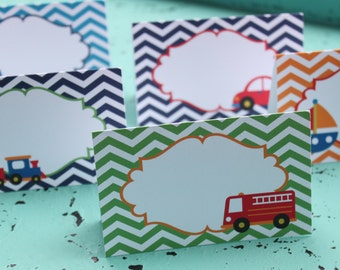 ZOOM ZOOM TRANSPORTATION Birthday or Baby Shower Buffet Cards Table Tents Food Labels {Set of 8} - Party Packs Available