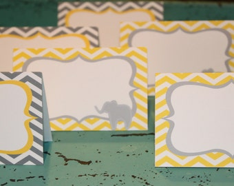 CHEVRON ELEPHANT Theme Birthday or Baby Shower Buffet Cards Place Cards {Set of 8} - Party Packs Available