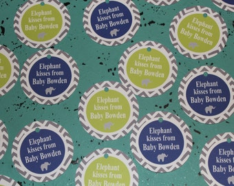 CHEVRON ELEPHANT Happy Birthday or Baby Shower Favor Tags Set of 12 {1 Dozen} - Party Packs Available