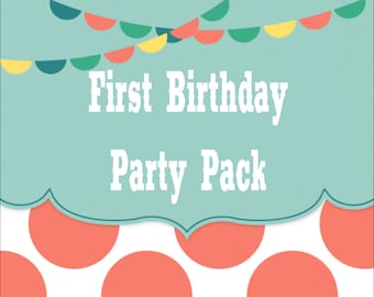 SALE - Build Your Own FIRST BIRTHDAY Party Pack - Any Theme In The Shop