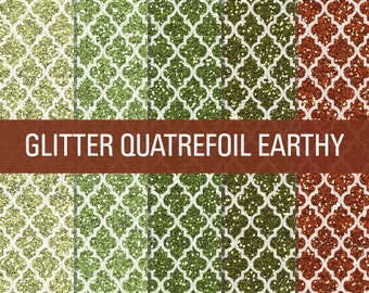 70% OFF SALE Glitter Digital Paper Earthy Green Brown Quatrefoil Pattern Textures Paper Pack
