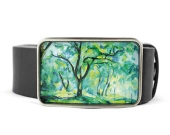 Forest belt buckle, Cezanne Belt Buckle, Wearable Art Belt Buckle