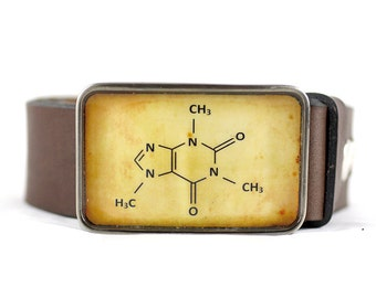 Caffeine Belt Buckle, Molecule Belt Buckle, Science belt buckle