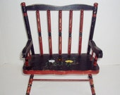 Vintage Doll Chair Straight Back Bench Style Hand Painted