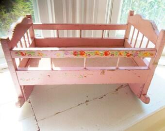 Vintage Doll Cradle Pink Wooden Rocking Cradle Floral Stencil Chippy Paint