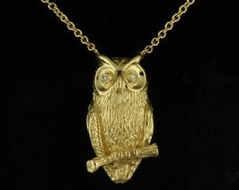 Yellow Gold Owl Necklace, Diamond Pendant, Animal Necklace, Conflict Free Diamonds Charming Owl Pendant, Yellow Gold Hand Carved Necklace