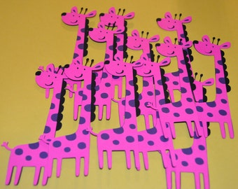 "Giraffe Die Cuts (12) 5"" in Pink & Purple"