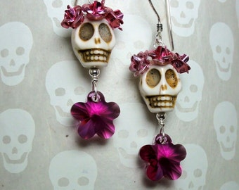 Dia de los Muertos Pink Flowers and White Skull Earrings