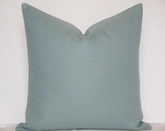 BOTH SIDES - Decorative Pillow Cover - Spa Blue - Aqua - Accent Pillow - Basketweave Pillow -