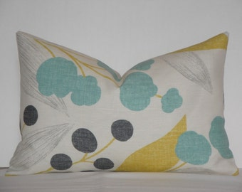 Kravet - Berry Floral in Aqua - Accent Pillow - Sofa Pillow - Charcoal Gray - Capparis in Sunshine Yellow