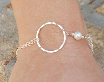 Sterling Silver Infinity Bracelet - Eternity Bracelet - White Pearl Infinity Bracelet - Best Friend Gift - Circle Bracelet