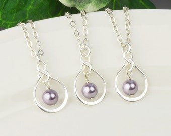 Pearl Bridesmaids Jewelry SET OF 4 Pearl Bridesmaid Necklaces 8% OFF - Sterling Silver Swarovski Mauve Lavender Pearl Infinity Necklace