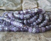 Big Hole Amethyst Rondelle Bead 2.5  Large Hole 8mm Purple Stone Fits Leather 35 beads